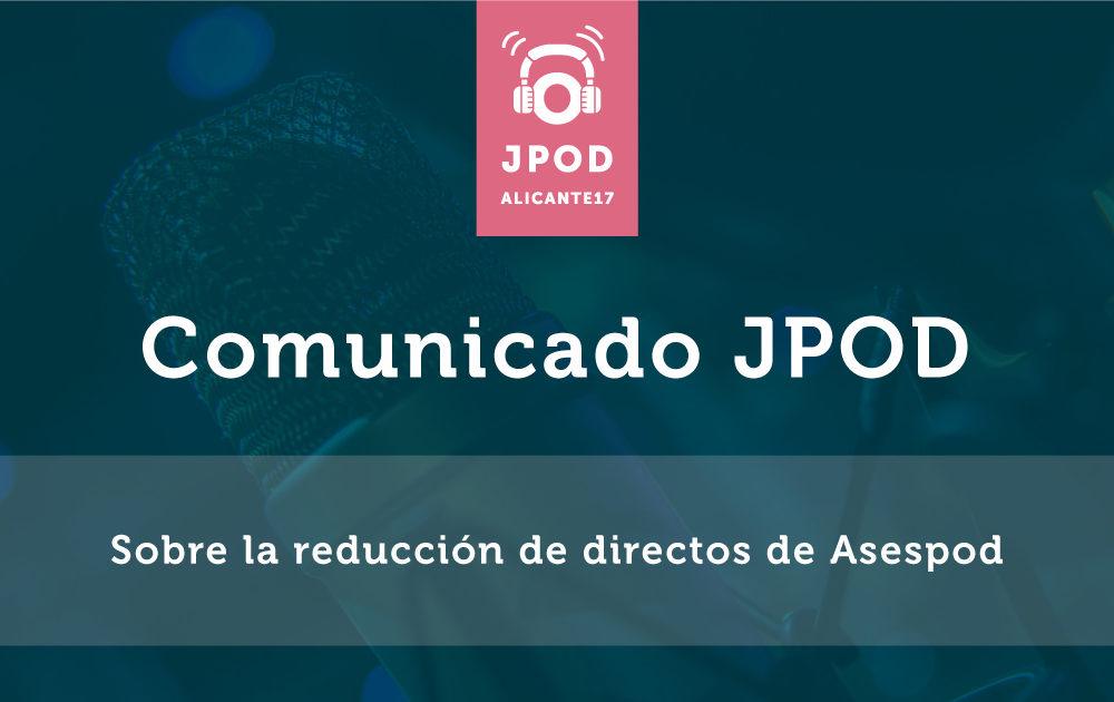Comunicado sobre la reducción de directos de Asespod